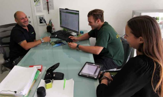 Rodrigo Lima and clients in the South Florida located Lime Design office