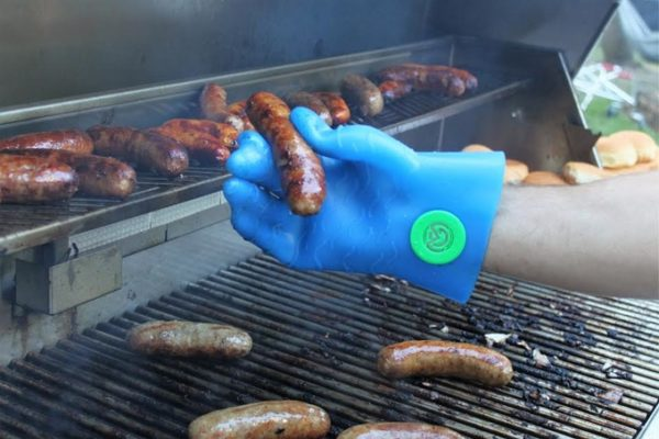 Magnefuse BBQ glove silicone product prototype test on a grill with a sausage