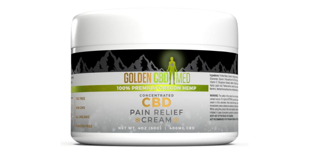 GoldenCBD cream 3D product bottle rendering with graphic design label