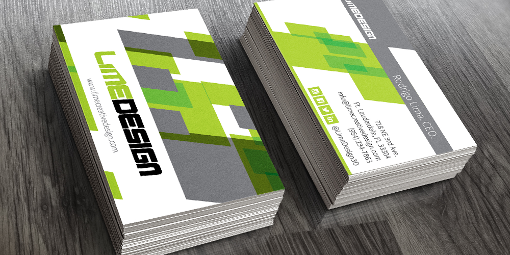 Lime Design 3D render of South Florida business card graphic designs on a table