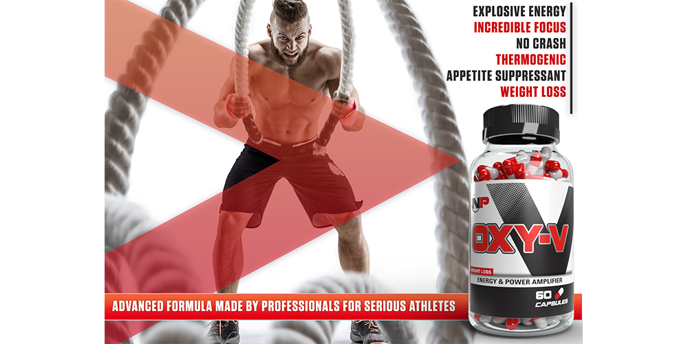 Oxy-V 3D product bottle render with graphic design of man pulling ropes in the background. advanced formula made by professionals for serious athletes
