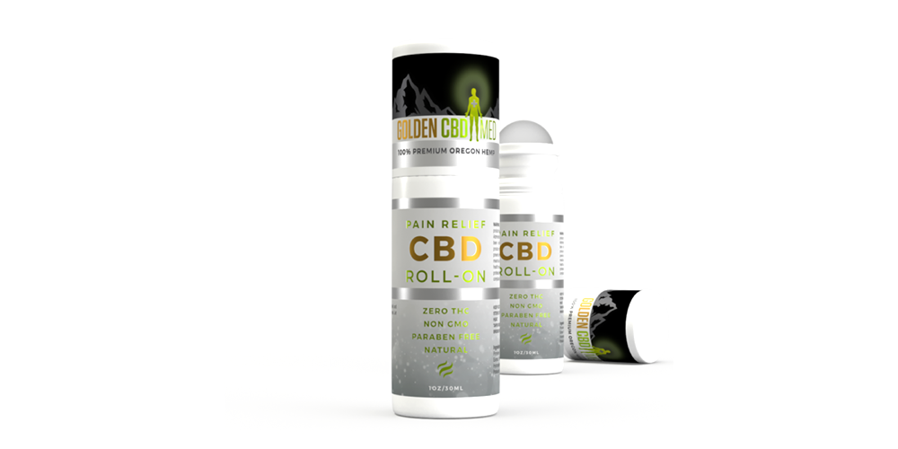GoldenCBD 3D packaging render with opened and unopened version