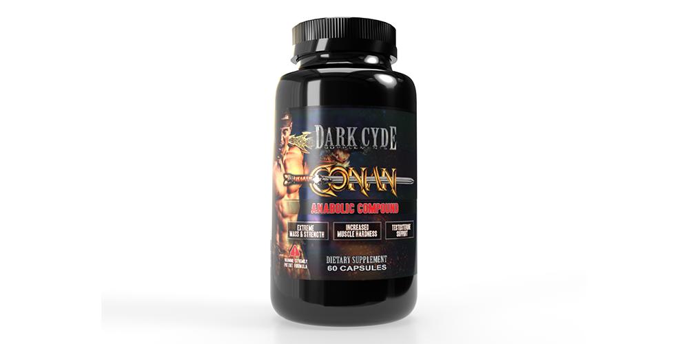 Dark Cyde 3D rendering of supplement bottle with conan on it