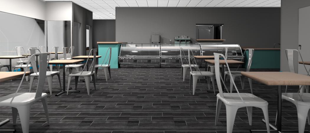 South Florida Nanou Bakery dining area 3D architectural render