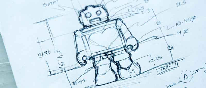 Industrial design toy concept sketch of a robot with measurements for 3D modeling