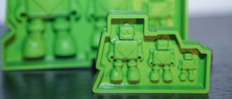 Mechanical engineering 3D printed mold of three robot toy products
