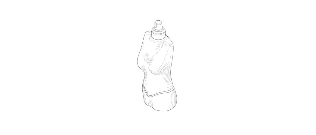 Patent protected drawing of product bottle design based on female body