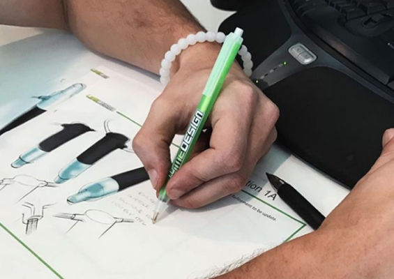Industrial product design sketching in SOuth Florida office