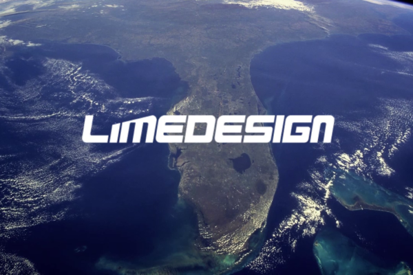 Lime Design logo over Florida on a view from space