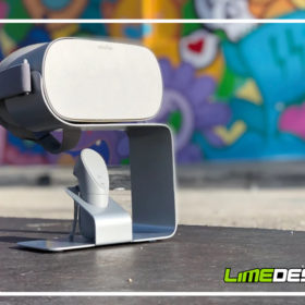Aluminum VR stand on a Miami sidewalk with graffiti in the background